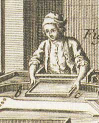 The vatman dips a paper mould into the vat. From the Encyclopedia of Diderot, 1751-1777.